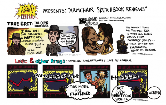 """""""Armchair Sketchbook Reviews"""": True Grit, Black Swan, Love & Other Drugs"""